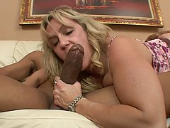 Mature, blonde woman with big boobs, Wanda is fucking a blac...