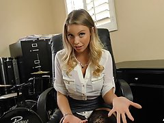 Flirty blonde secretary, Britney Amber sucked her bos's dick and got fucked, until she came