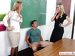 Two amazing blonde teachers are having a threesome with a handsome guy they have just met