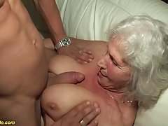 Slutty blonde granny is making her first porn video at 75 an...
