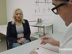 German blonde likes the way her doctor is rubbing her soakin...