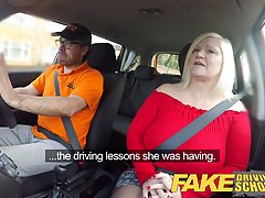 Big titted milf with blonde hair is having sex with her driv...