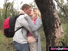 Sweet, amateur teen is making out with her ex and getting a rear fuck, in the nature