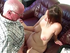 Chubby chick is about to fuck a horny grandpa, because she m...