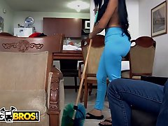 Latin cleaning lady with big boobs, Casandra is giving a blowjob to Peter Green before fucking