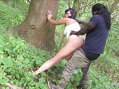 Чернокожий парень в лесу достал большой хер для секса с брюн...