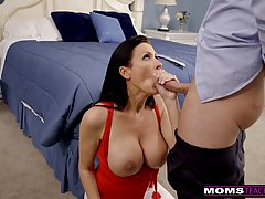Insatiable mature brunette with big, bouncy boobs is fucking...