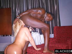 Curvaceous, white slut with a big, round butt is having steamy sex with a black guy