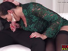 Seductive mature brunette with big tits is doing it with two...