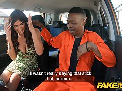 Princess Jas is sucking and riding a big, black dick in the back of a car