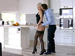 Hungarian blonde in erotic, black lingerie is about to get b...