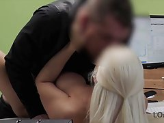 Charming blonde babe is willing to do everything to get hire...