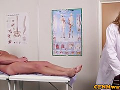 Horny nurses and the main doctor are taking turns sucking th...
