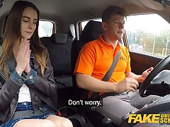 Frisky teen brunette and her driving teacher are fucking in ...
