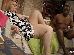 Fat blonde mature is getting her ass fucked by a black guy s...
