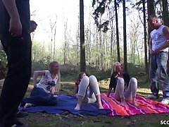 Tina, Kacy Kisha and other German girls are having group sex...