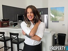 Adorable housekeeper is fucking one of the clients, hoping that no one will see them