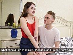 Молодая девушка брюнетка сняла трусики для классического секса с любовником