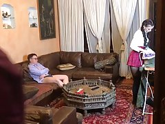 Slutty schoolgirl with pigtails is about to do it with two g...