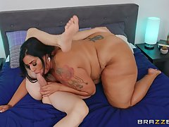 Fat brunette is squeezing her milk jugs and getting fucked, ...
