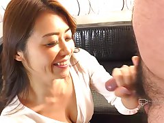 Passionate, Japanese woman, Maki Hojo is giving a head to he...
