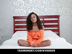 Pretty, black teen with curly hair is having interracial sex...