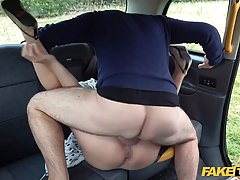 Nerdy brunette with glasses, Alys sucks her driver'...