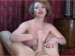 Voluptuous blonde woman with big boobs is naked and rubbing ...