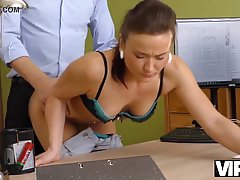 Pretty office lady was only hired because she was willing to...