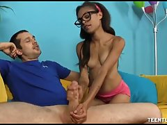 Petite teen with huge glasses and small tits, Isabella Gonza...