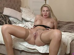 Beautiful, blonde woman with big, firm tits is cuckolding he...
