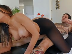 Gia Derza is eagerly sucking her handsome lover's d...