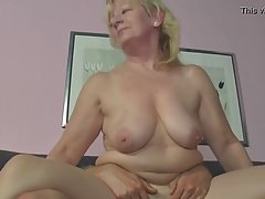 Busty, blonde granny had casual sex with a younger guy and g...