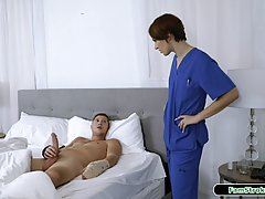Slim, small titted brunette likes how her step- brothers dic...