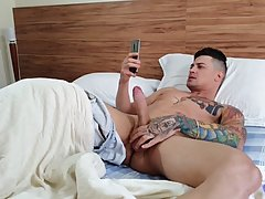 Tattooed guy was jerking off when Samira Bombom showed up to...