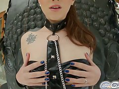 Blue- eyed babe with tiny tits, Misha Cross got covered with cum after sucking many hard cocks