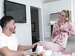 Blonde milf, Addie Andrews is often having steamy sex with her handsome step- son and enjoying it