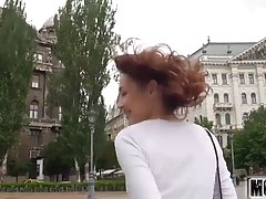 Blue- eyed brunette, Macy is often traveling and having casual, anal sex with various handsome guys