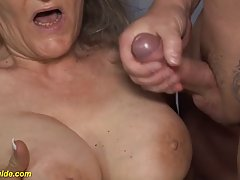 Busty granny took off her clothes and got down and dirty wit...