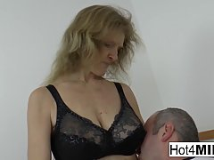 Mature blonde with big tits is getting fucked and covered with cum, once in a while