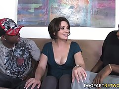 Sarah Shevon is sucking a black dick to make it hard and then getting doublefucked