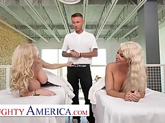 Gorgeous blonde milfs with big tits, Casca Akashova and London River are about to have a threesome