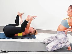 Red haired babe, Kenna James does yoga with a hot, blonde milf before they make love
