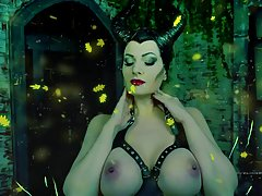 Busty Villainess with black horns is slowly taking off her clothes to show her ample curves