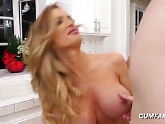 Passionate, blonde mommy in erotic lingerie seduced her son&...
