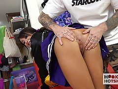 Slutty cheerleader is moaning while getting assfucked on the...