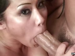 Asian brunette got cum in mouth after sucking and riding a r...