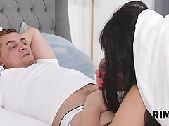 Two stunning brunettes are doing their best to please one lu...