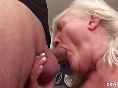 Blonde granny is sucking dick in the kitchen and getting fuc...