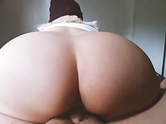 Big butt babe is bouncing up and down while riding a rock ha...